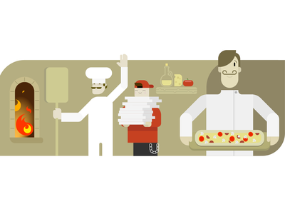 VivifyScrum EDU illustration pizza place branding fire bakery delivery italy funny characters illustration pizza