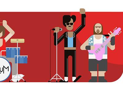 VivifyScrum EDU rock band illustration singing song guitar characters man bold funny band rock