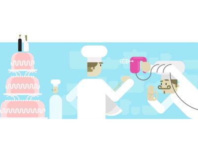 VivifyScrum EDU making a cake illustration simple sweets kitchen mixer cake characters illustration