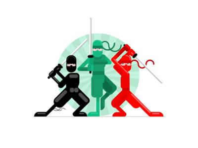 VivifyScrum EDU Ninja Crew illustration simple characters japanese samurai ninja