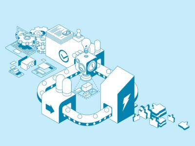 Process Blueprint blueprint process illustration perspective