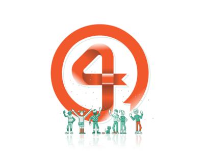 4 Years of VivifyScrum! ribbon symbol logo sign illustration 4 four number