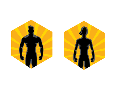 Badges for the fitness app app character vector characters icon simple illustration