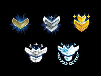 Progress badges bronze silver gold set badge icon logo illustration