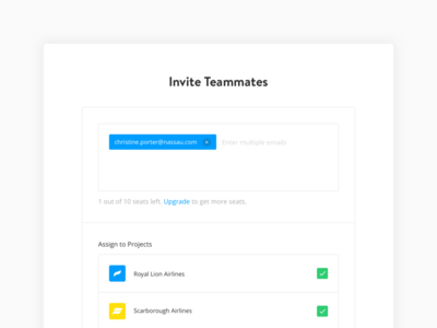 Invite Teammates user managment yieldr airlines project modal teammates invite