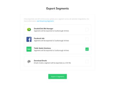 Export Segments yieldr integration audience export modal segments