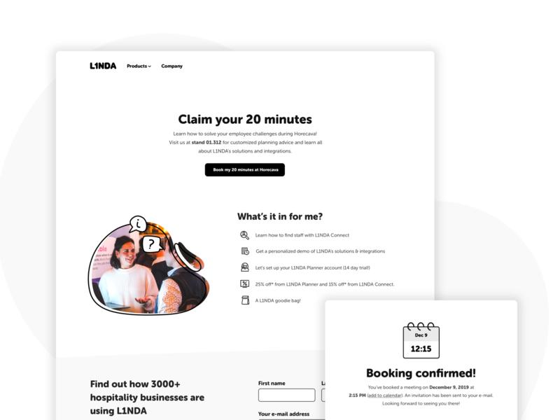 Claim your 20 minutes landing page marketing hospitality website design promotion horecava l1nda website