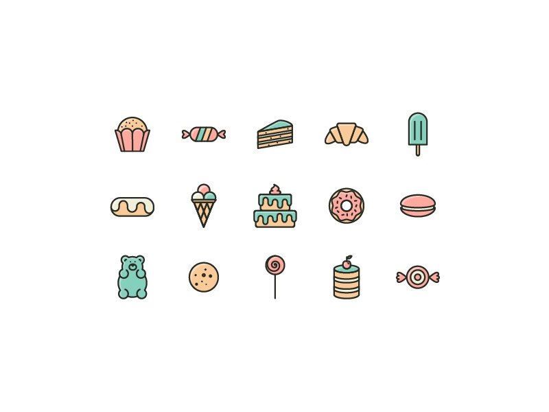 Sweets Pack gummy bear ice cream free freebie icons lollipop donut macaroon cookie cake candy sweets