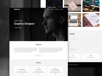Refined - portfolio template single page theme showcase ui clean designer template portfolio resume