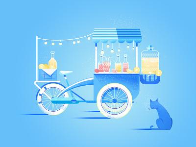Lemonade Rickshaw illustration vector rickshaw grapefruit night bicycle cat lemonade
