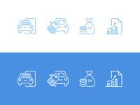 Rent Car Icons Set