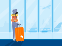 The girl in the airport illustration