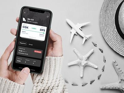 ✈️Flights Status userinterface design airplane trackers tiket ota mobile minimalist interface experience dribbble apps dark flight app flightstatus travel status flight