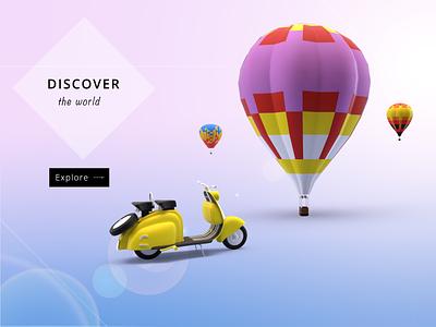 Travel website Hero Banner Design design adobe dimension adobe photoshop branding