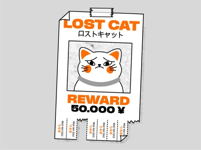 Lost Cat cat vector design illustration ai