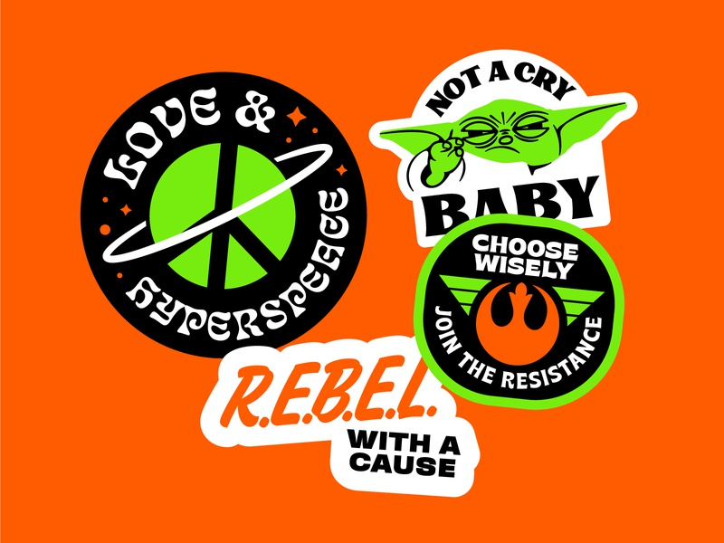 Star Wars Badges rebels badges space baby yoda star wars design vector illustration ai