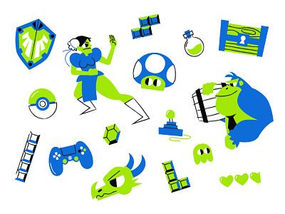 Videogames playstation tetris zelda nintendo donkey kong design vector ai illustration videogames