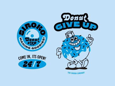 Donut Give Up! design vector ai illustration diner donut
