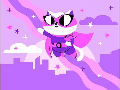 Super Rainbow Kitty vector ai illustration superhero cat kitty