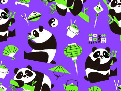 Pandas vector illustration ai design bambu animal china panda bear panda bear