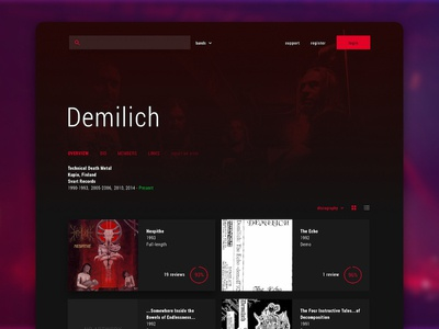 Encyclopaedia Metallum - Band Profile Redesign Concept ux ui heavy metal music concept redesign