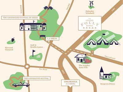 Grand Folly countryside england landmarks booking luxury leisure hospitality icon illustration map design map