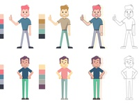 Flat Style Character Designs