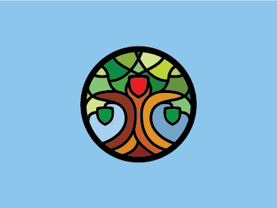 Gen-Fed Mark genealogy crest mosaic round logo design branding