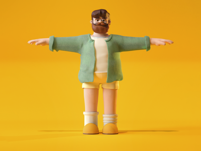 Character TPose Detailed yellow palette character animation character retro render 3d cinema4d animation