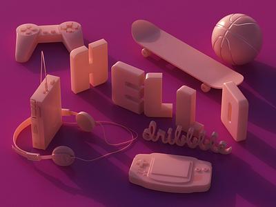 Hello Dribbble! render type skate gameboy vintage retro 80s pink cinema4d 3d debut hello