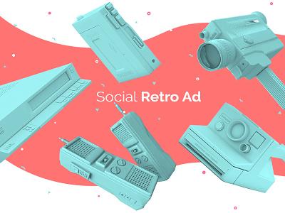 Social Retro Ad pantone vhs aftereffect cinema4d 3d print colors palette vintage retro 80s