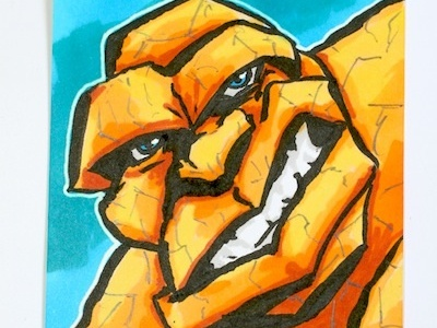 The Thing sketch card the thing comics marvel ben grimm sketch card