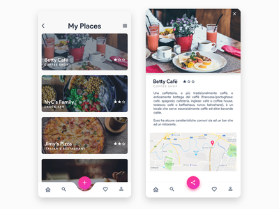 Myplaces - Favourite places app description share favourite list figma restaurant
