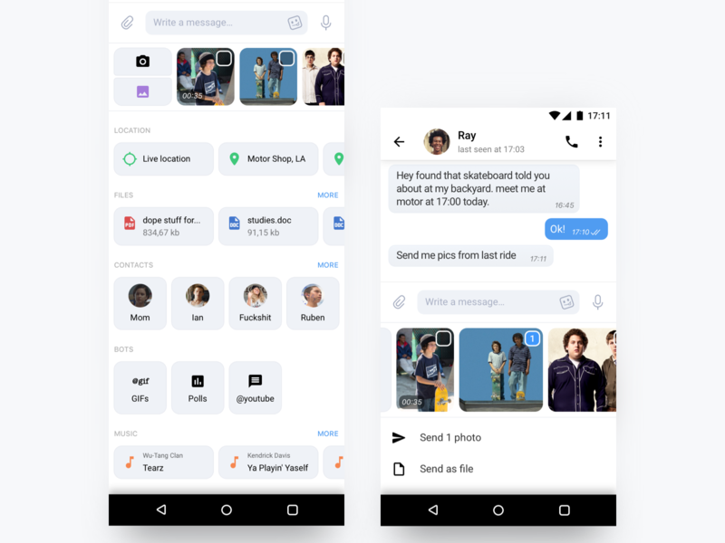 Telegram chat attachment's screen by Viacheslav Barinov on Dribbble