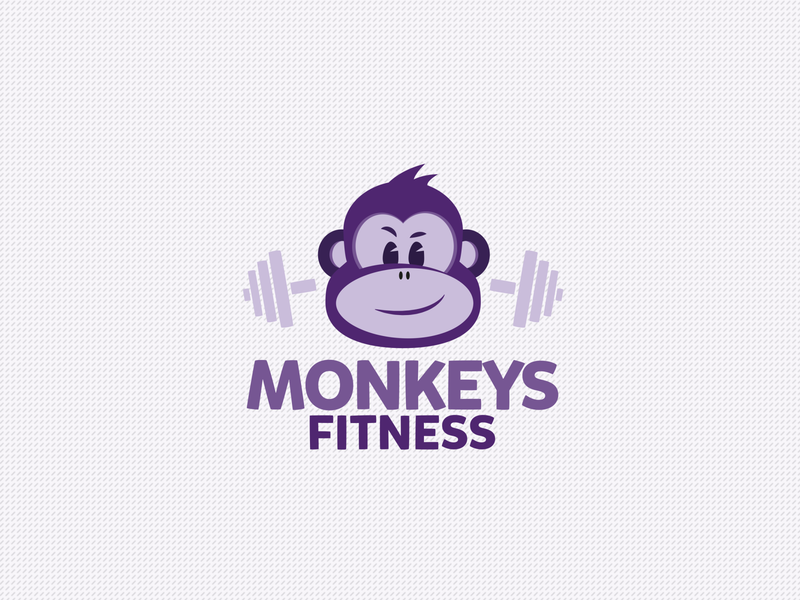 Monkeys Fitness cartoon illustration vector typography design brand brand identity brand design logodesign branding logo