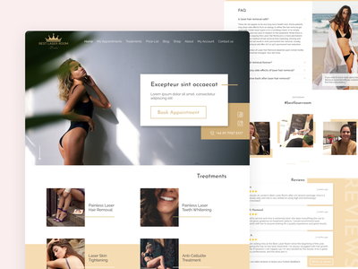 Beauty Laser Web Site appointment reviews faq flat design web minimal landing page ui business beauty