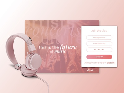Daily UI Day 001 - Sign Up Sheet music landing page sign up daily ui