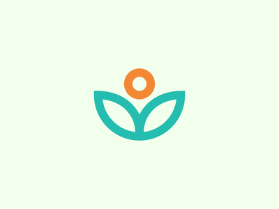 Plant + Sun Logo sunrise yoga health green orange plant leaves sun sticker logomark identity symbol line art branding vector negative space mark icon logo