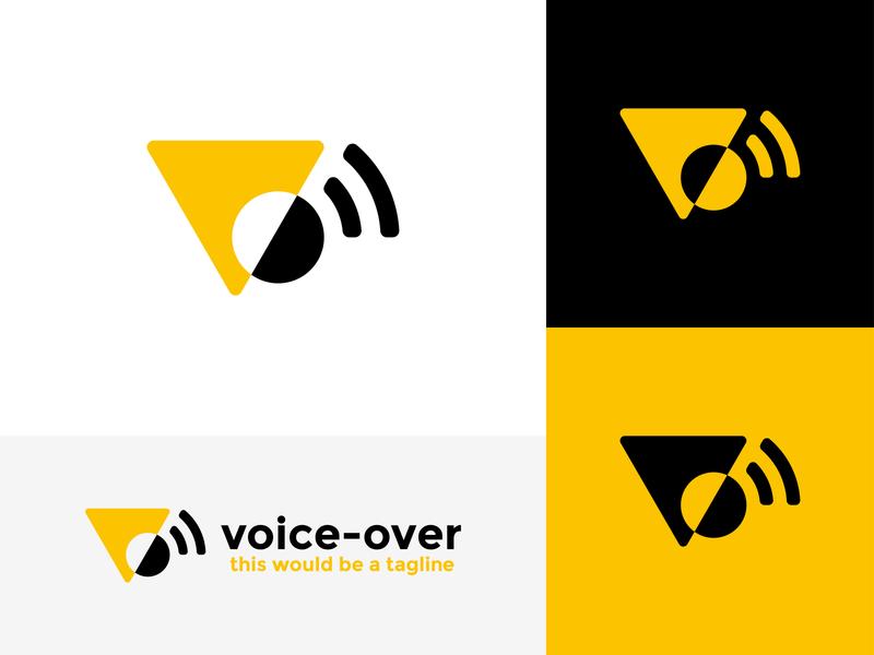 Voice-over Logo: V + O + Audio chat audio app record play audio black yellow voice logomark logotype line art branding type vector negative space mark icon logo