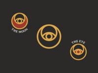 The Moon & The Eye gold wizard red black mystery magic moon eye symbol identity illustration line art branding vector type negative space mark icon logo