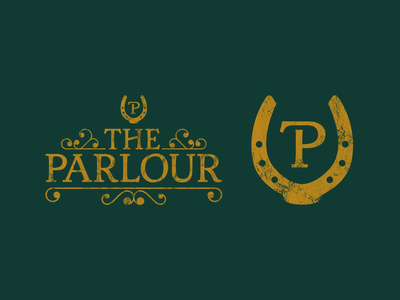 The Parlour Meeting Room Logo fancy victorian gold green horseshoe horse logotype symbol identity logomark illustration branding type mark icon logo