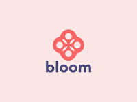 Bloom - Flower Logo simple circle flowers seed sticker pink purple bloom flower symbol identity logomark line art branding vector type negative space mark icon logo