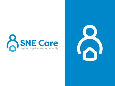 SNE Health Logo blue house home people care nhs nursing healthcare logotype identity logomark line art branding type negative space mark icon logo