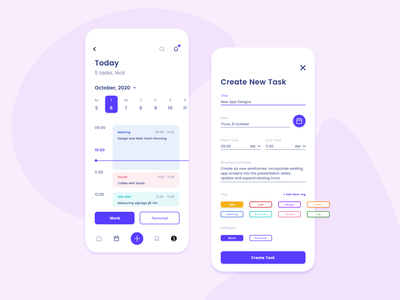 Task Manager App Concept blocks dashboard task management team organise app design purple type icon typography branding logo uiux web design web task manager app ux ui