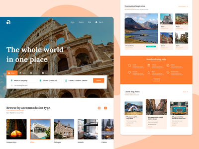 Travel Booking Site - Landing Page Concept vacation holiday typography ux ui branding type homepage home landing page typogaphy booking travel uiux web design website web