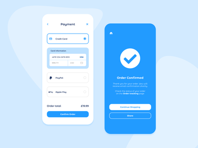 Payment & Order Confirmation App ecommerce shop blocks typogaphy type uiux ux ui mobile ui confirmation order payment app design web design web mobile app