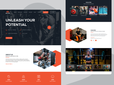 Gym/Fitness Centre Website - Landing Page Concept type logo typography gym app orange identity branding fitness logo website design web design landingpage ux uiux ui gym fitness web website