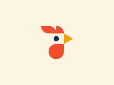 The Rooster farmyard animal red vector bold bird logo cockerel farm rooster bird illustration logomark identity symbol line art branding negative space mark icon logo