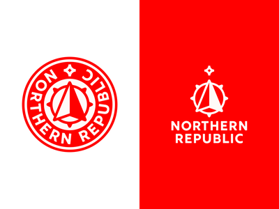 Northern Republic Crest arrow badge crest nautical red northern north compass star illustration sticker logotype logomark identity branding type negative space mark icon logo
