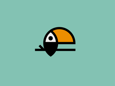 The Toucan bird icon bold beak exotic jungle wildlife toucan bird logomark illustration sticker line art vector branding negative space mark icon logo